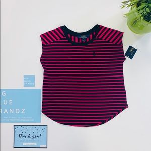 STRIPPED TEE PINK AND BLUE